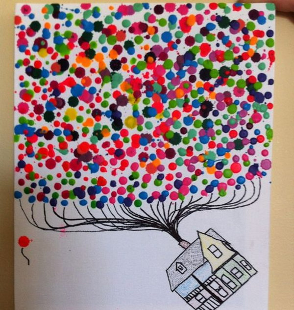 Melted Crayon Art for the Movie Up.