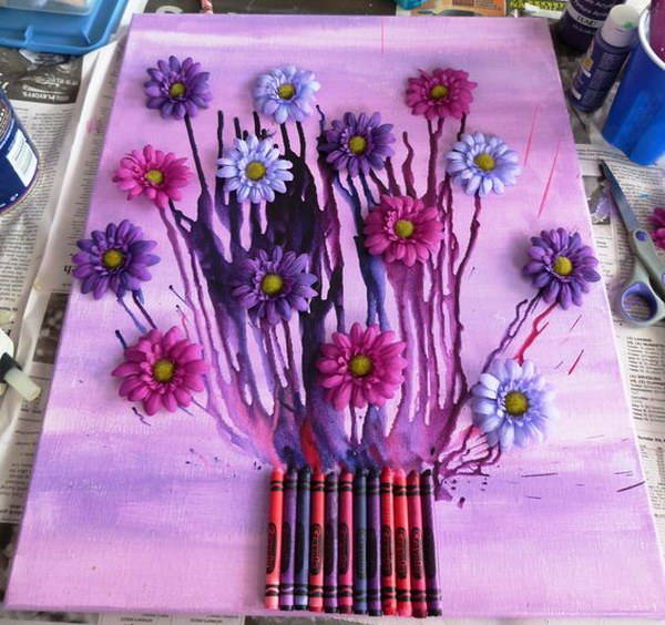 Flower Bouquet Melted Crayon Art.