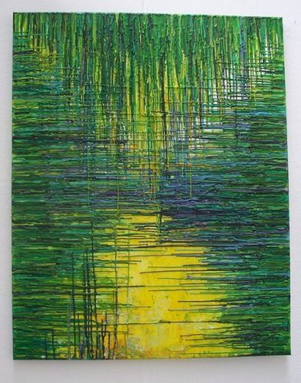 Green Dripped Wax Crayons Melted Crayon Art