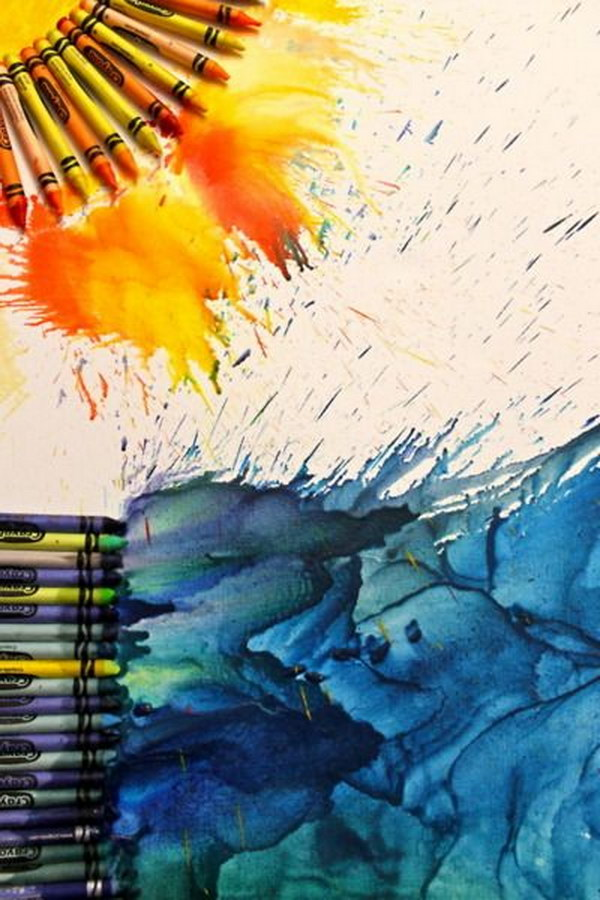 The Sun and Ocean Melted Crayon Art.