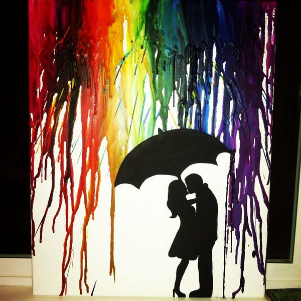 Melted Crayon Art of Silhouette Couple Kissing.