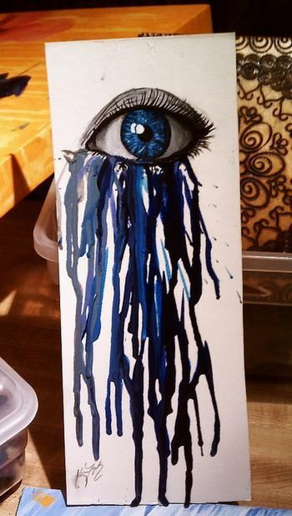 acrylic crayon painting with hair dryer