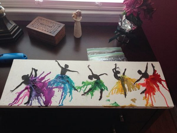 Melted Crayon Art Dancer Silhouette.