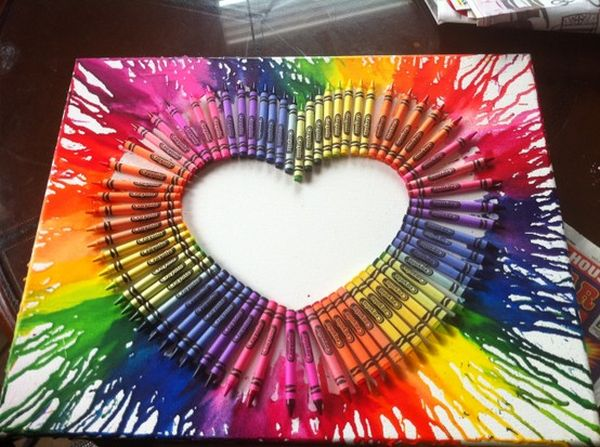 Heart Melted Crayon Art.