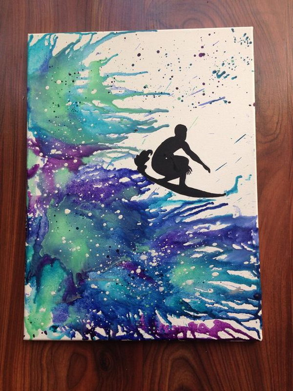 Surf Silhouette Melted Crayon Art.