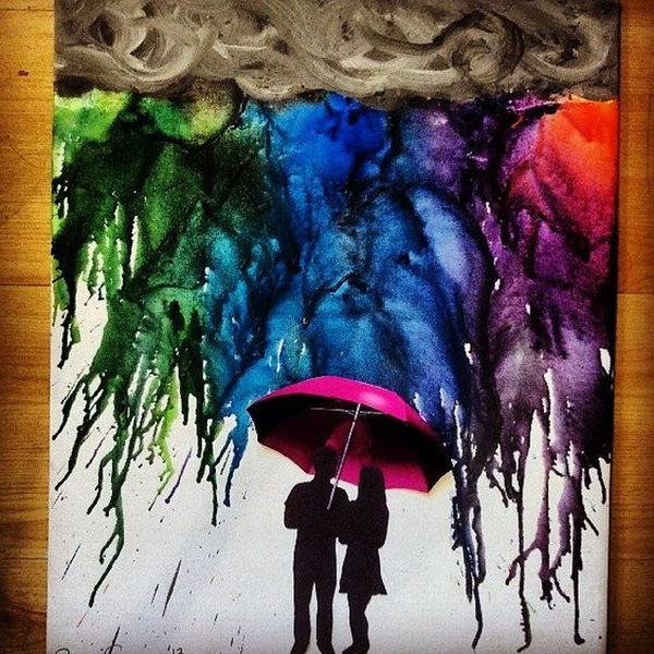 Melted Crayon Art with Silhouette Couple under a Red Umbrella.