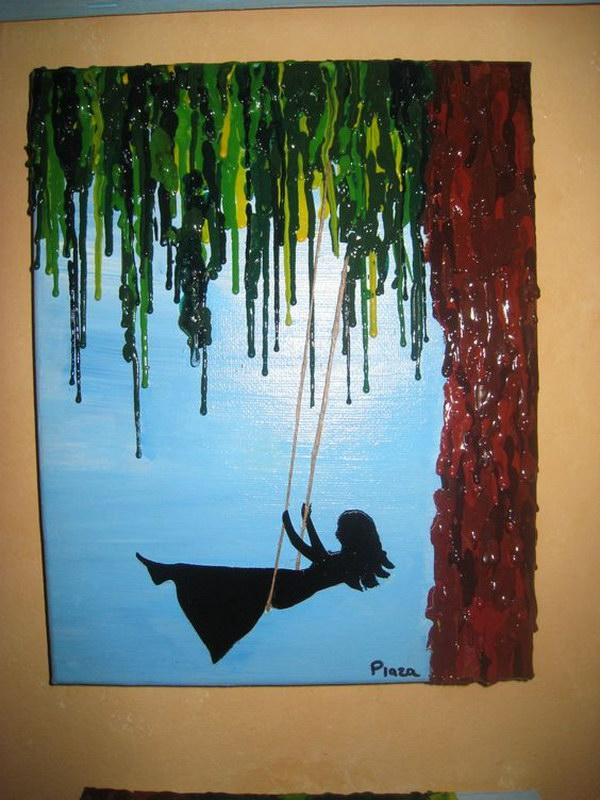 Girl Swinging Melted Crayon Art.