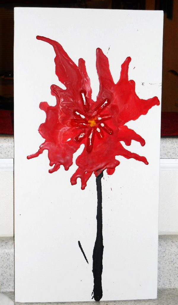 Easy Flower Melted Crayon Art.