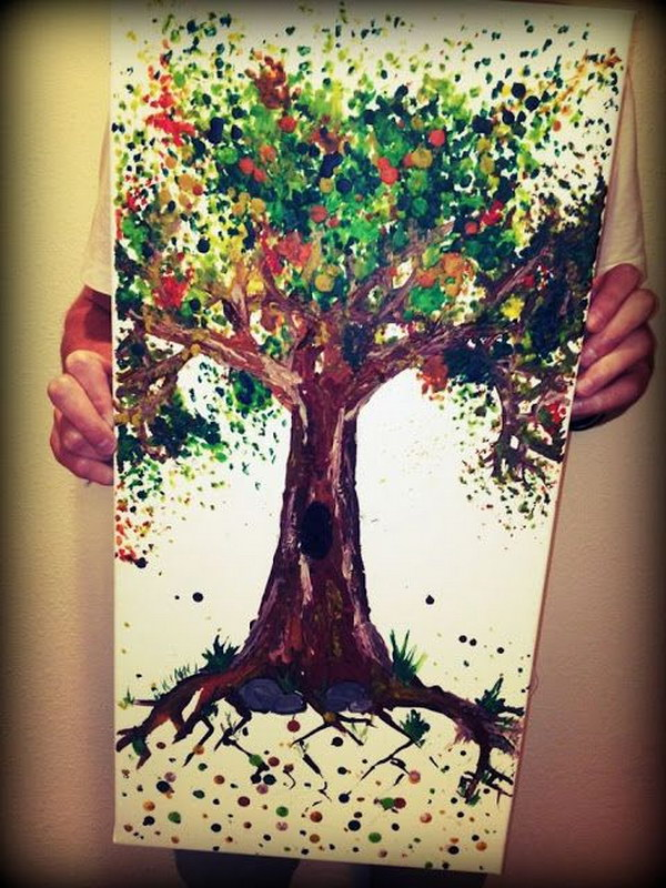 Melted Crayon Tree Art with a Hot Glue Gun.