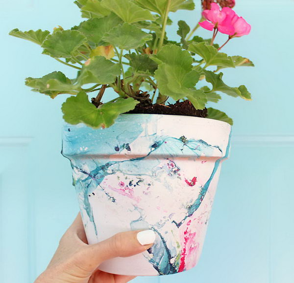 Or DIY Marbled Flower Pot