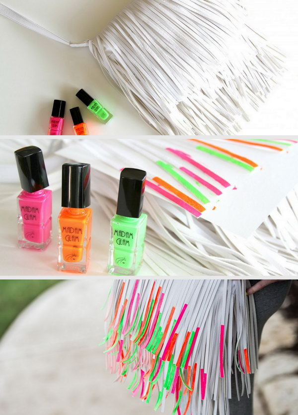 DIY Beautiful Nail Polish Painted Fringe Handbag