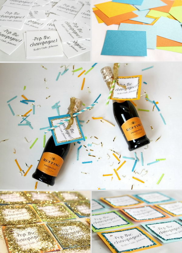 Use Glitter Nail and Paper to DIY Mini Champagne  Favors
