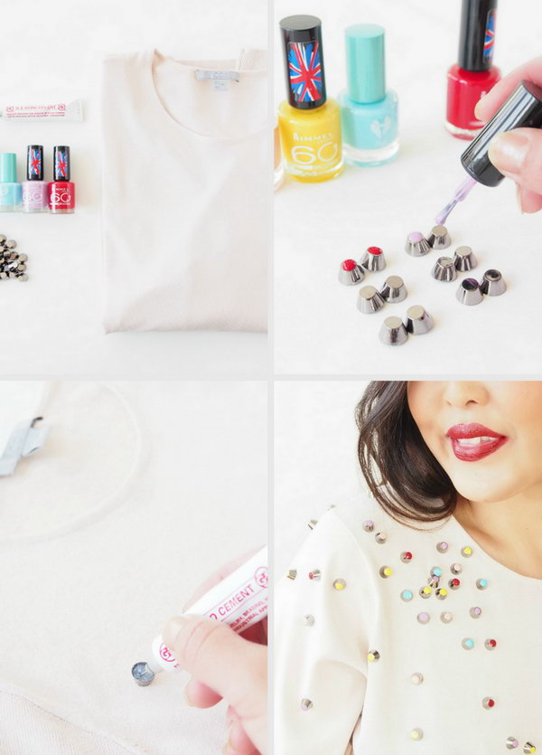 Use Nail Polish and Studs to Make a Chanel Inspired Top