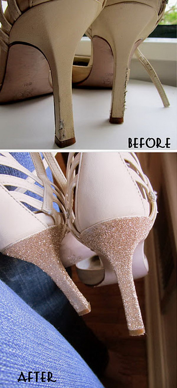 Use Glitter and  Glue to Fix Old Heels