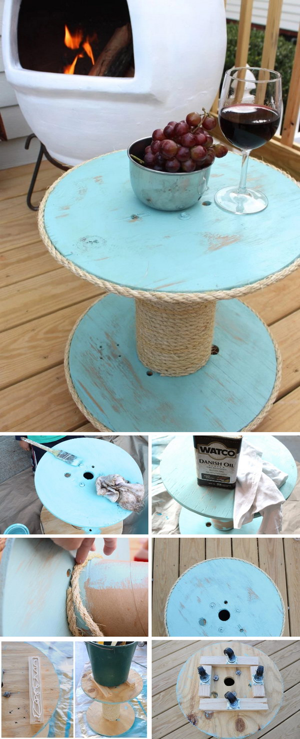 DIY Nautical Spool Side Table for under $12 : ideas and decor - www.pureclipart.com
