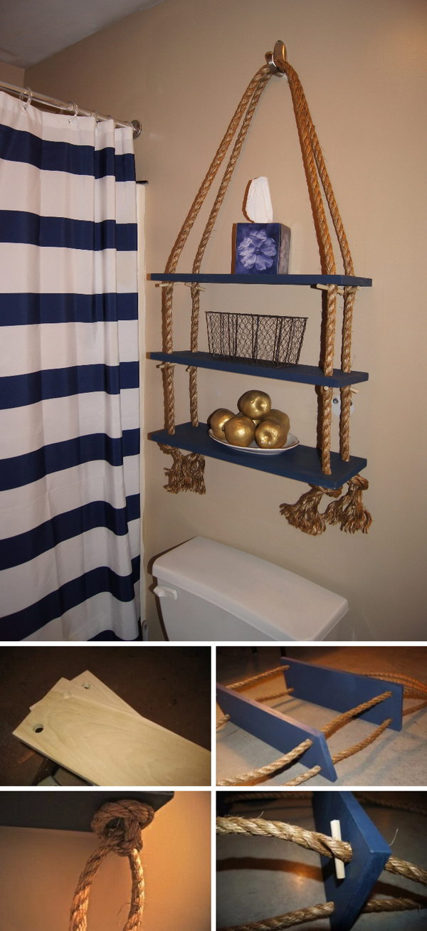 DIY Nautical Rope Shelf