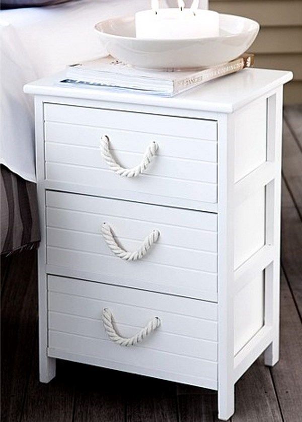 Nautical Nightstand With Thick Rope Handles In White