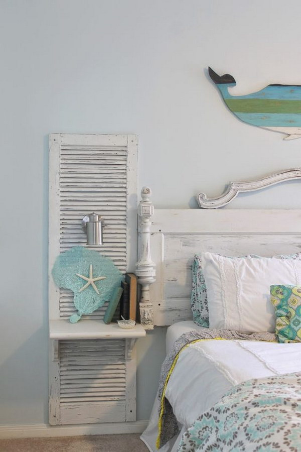 DIY Old Shutter Nightstand For A Beach Bedroom
