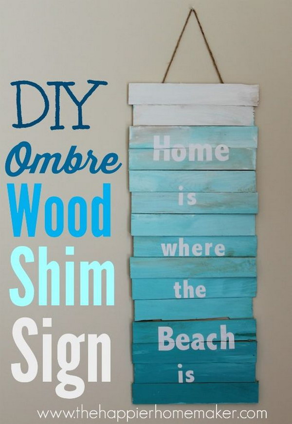 DIY Ombre Wood Shim Sign