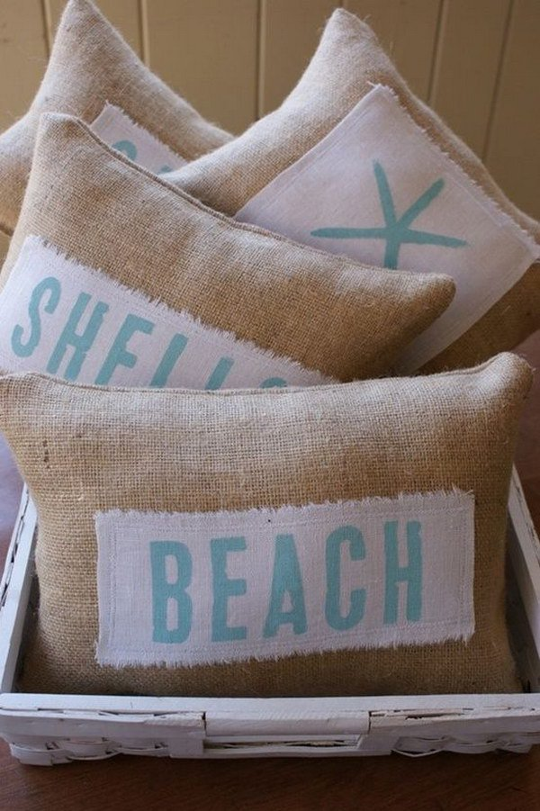 DIY Beachy Themed Pillows