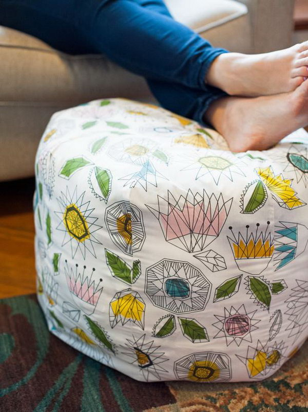 DIY Fabric Ottoman. Get the directions