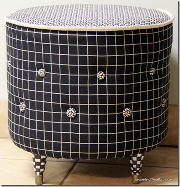 DIY Drum Ottoman. See the tutorial