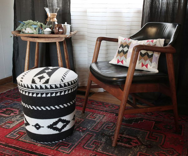 Bohemian Chic DIY Ottoman. Get the tutorial