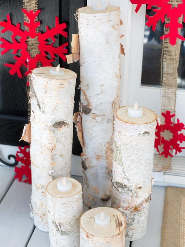Wooden Christmas Candles with Red Snowflakes