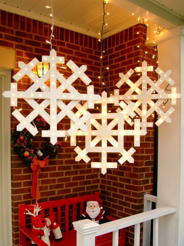 Wooden Snowflakes with Lights Tutorial