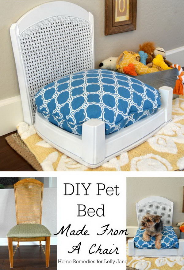 DIY Pet Bed Made From A Chair.