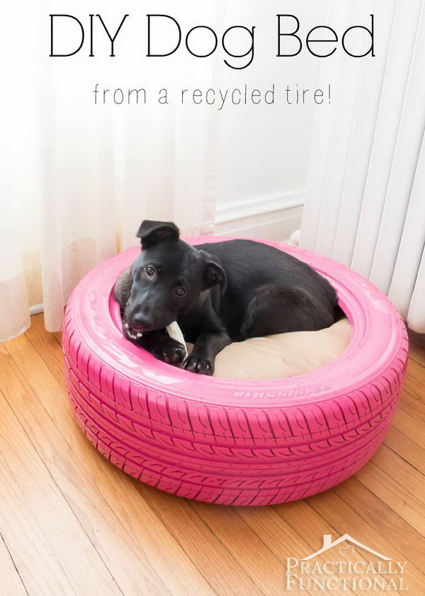 DIY Dog Bed From A Recycled Tire.