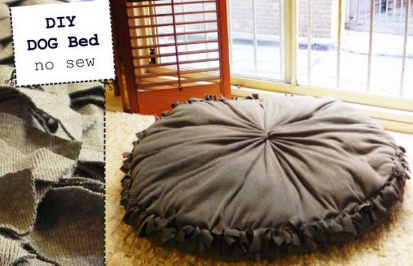 Super Easy No Sew Dog Bed.