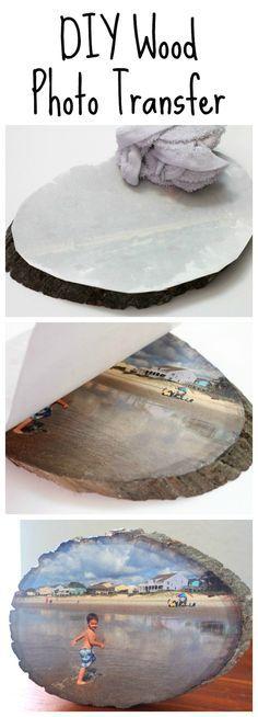 DIY Wood Slice Photo Transfer.