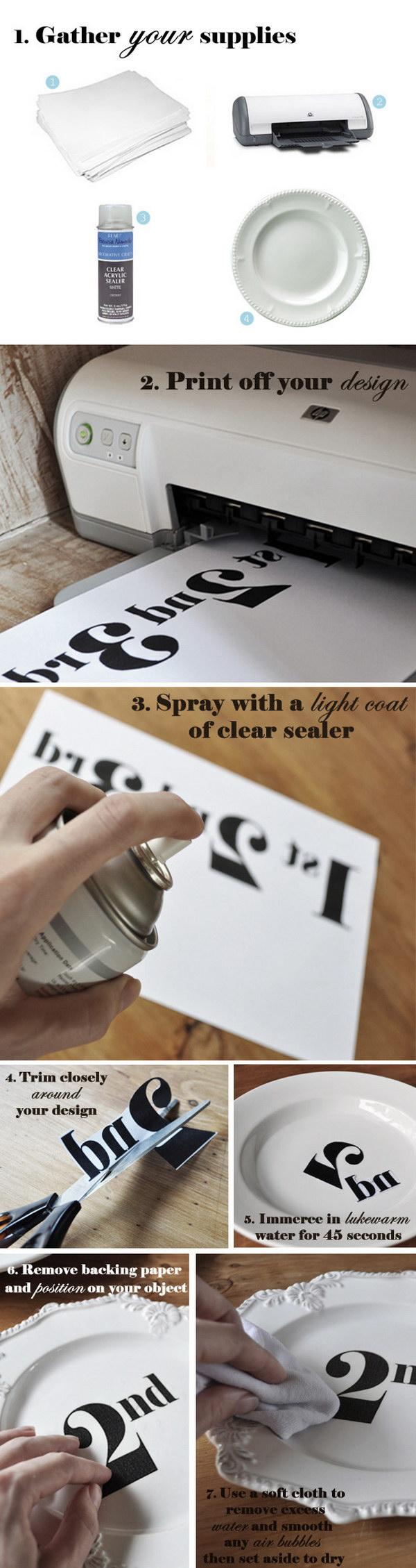 DIY Decal Transfer on Ceramic Plates.