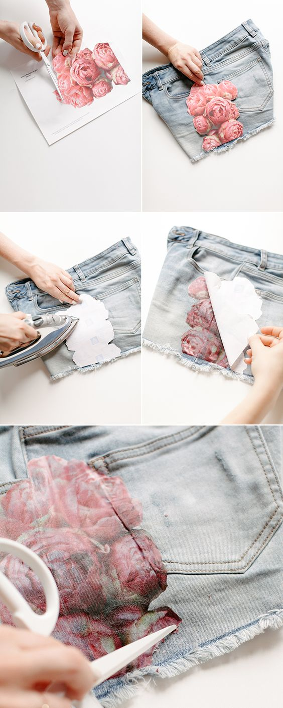 Easy Floral Photo Transfer DIY for Shorts.