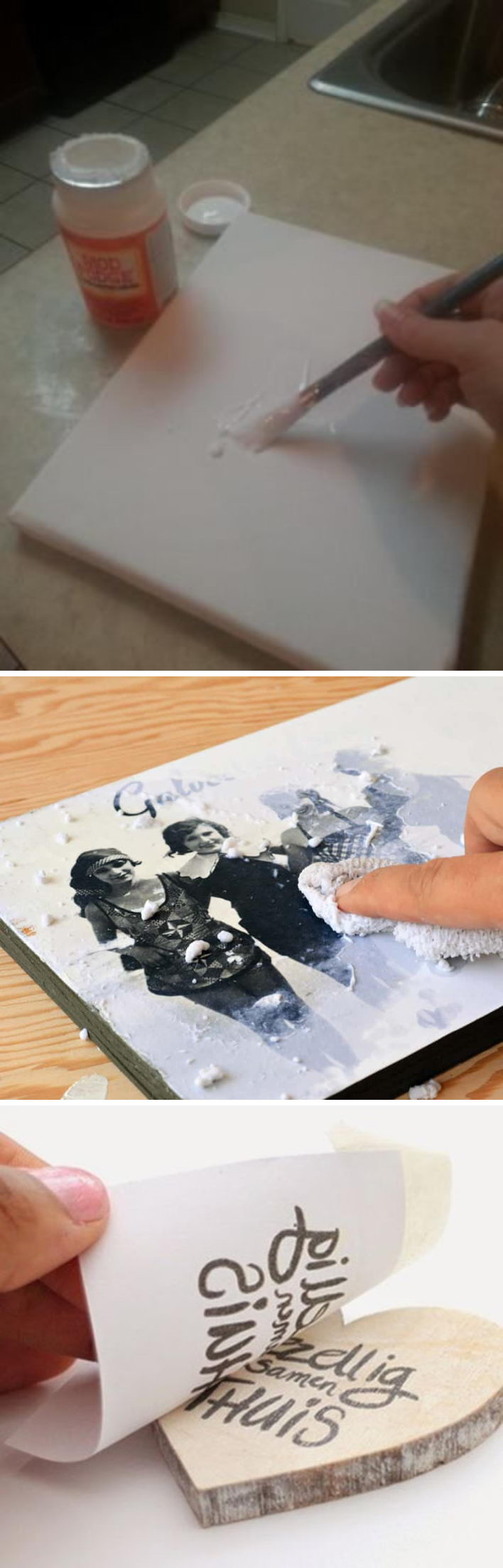 DIY Ideas & Tutorials for Photo Transfer Projects.