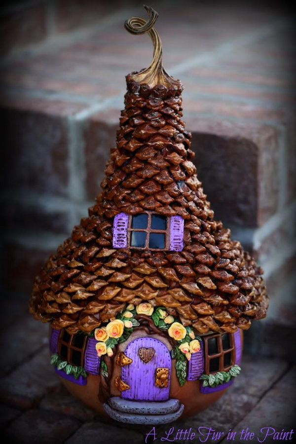 Step by Step Pine Cone Fairy House Tutorial. Adorable fairy house with lots of pictures and a complete tutorial to build one for your garden.