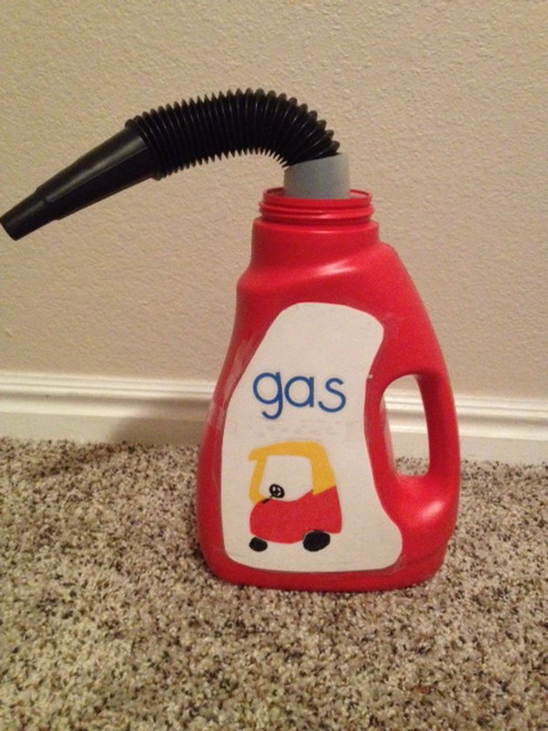 DIY Cozy Coupe Gas Can . Use an empty Wisk bottle to make this cute accessory for your kid's bike, car, or cozy coupe. Tutorial via