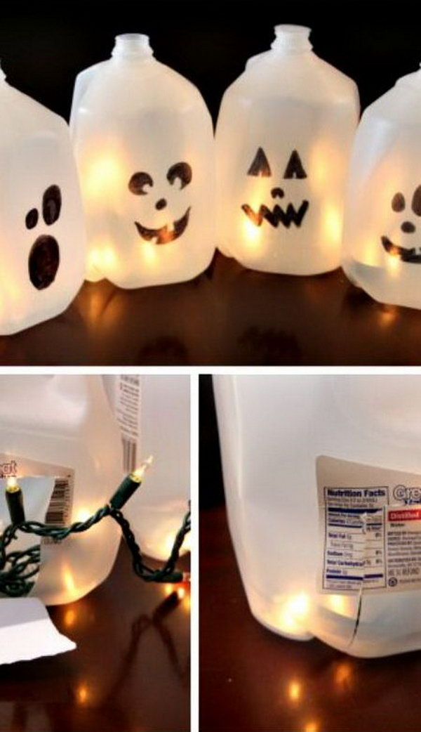 Make Halloween Luminaria By Filling Milk Jugs With Lights. Easy