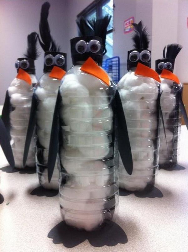 DIY Bottle Penguins. Have the kids make their own penguin crafts out of water bottles and cotton balls. See more from