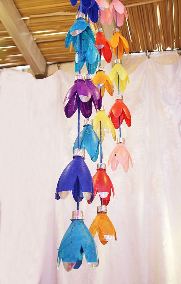 Recycled Bottle Flower Rainbow Mobile . Add A Personalized Touch To Your  Babyu0027s Playroom With This