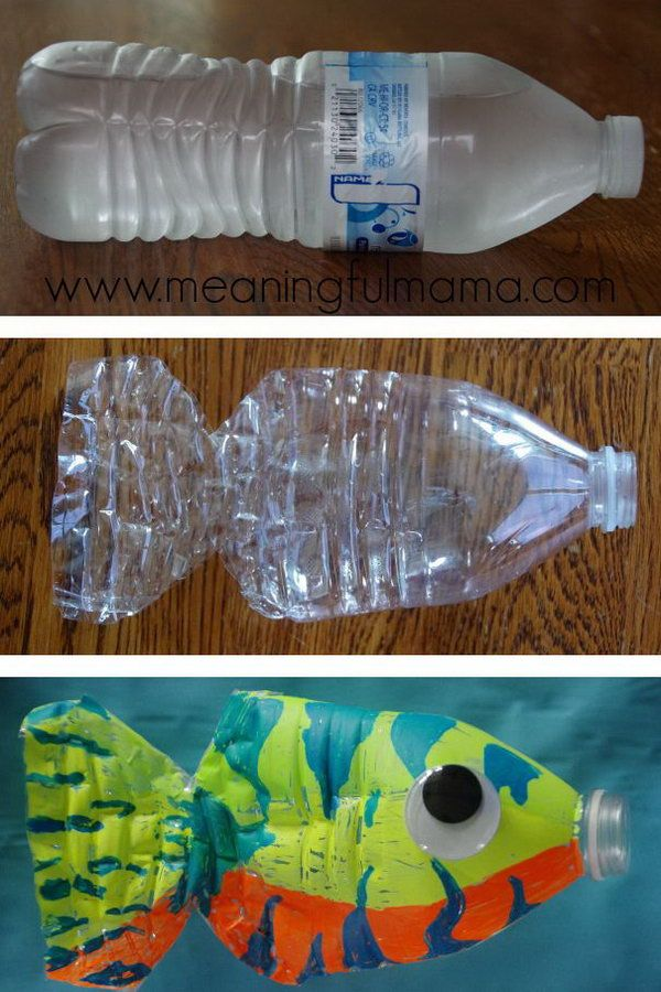 DIY Plastic Water Bottle Fish Craft. Kids will have fun recycling an empty soda bottle into a beautiful fish!  Tutorial via