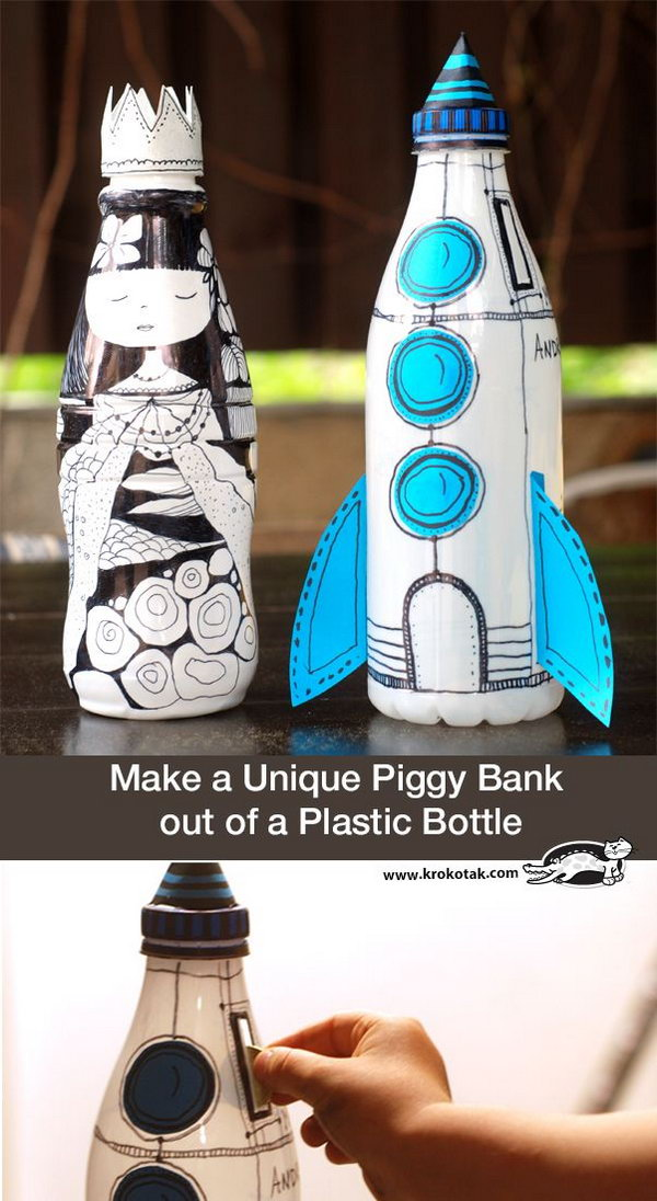 Unique Rocket Bank Made out of Plastic Bottle. Easy, cute craft idea that's great for kids. Tutorial via