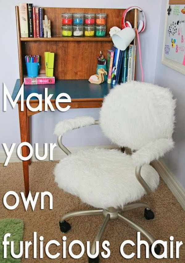Pottery Barn Inspired Furry Desk Chair. Every girl must have a pair of ghost chairs with fur seat covers in her home office.