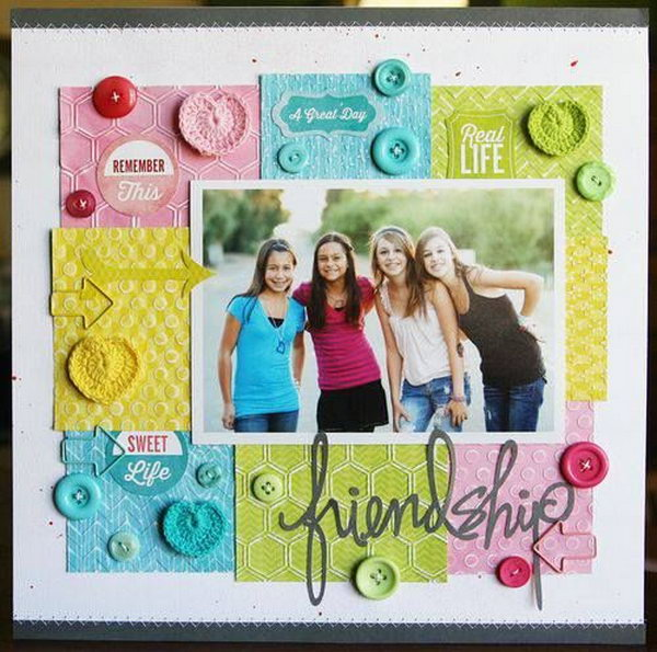 A fun and beautiful layout ideas for scrapbooking friendship.