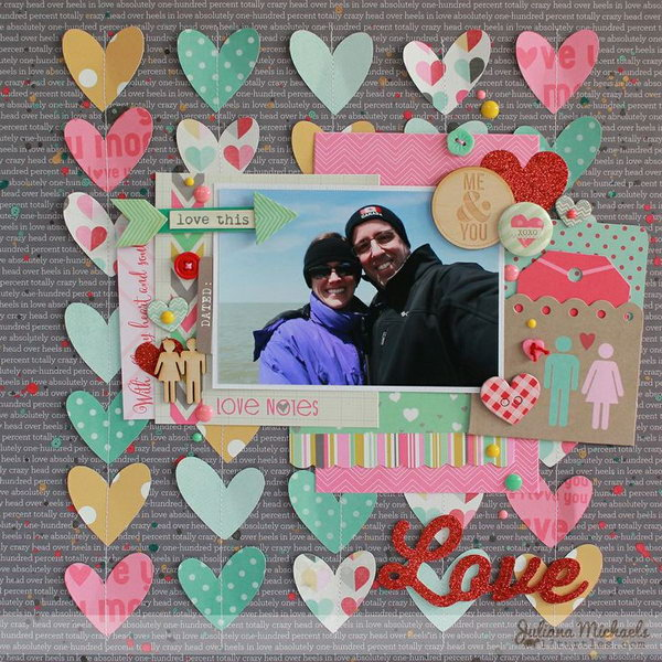 Love Scrapbook Layout with Colorful Paper Hearts. This one will make a great scrapbook gift for your boyfriend on valentines day. Learn how to make it