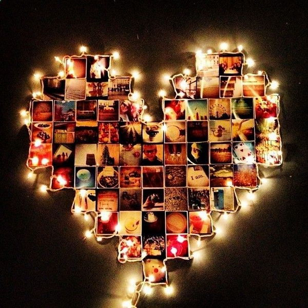 The heart shape photo scrapbook with lights around is a cool and romantic scrapbooking idea. A perfect gift for boyfriend.
