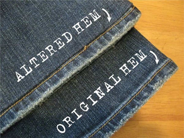 Hot to alter the jeans leaving the cool original distressed hem at the bottom