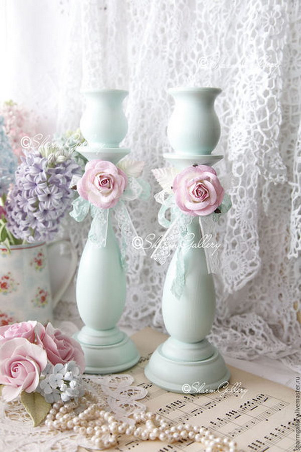 Adorable Shabby Blue Candlesticks.