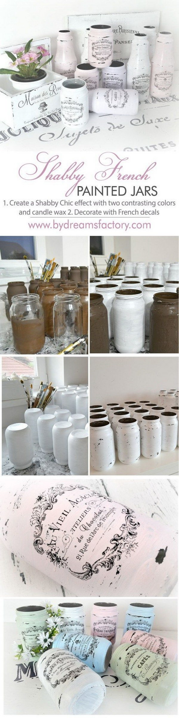 Shabby French Painted Jars.
